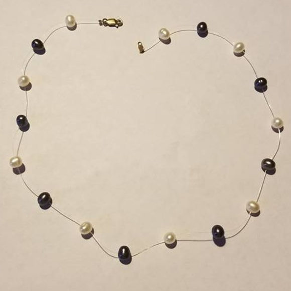 Jewelry - Threaded White and Black Pearl Necklace